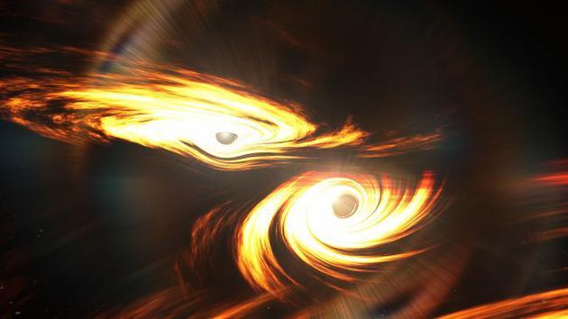 两个黑洞碰撞的想象图