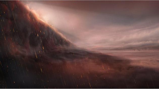 Wasp-76b行星夜侧温度比昼侧低1000摄氏度,这使得那些金属微粒能够凝结并像雨点一样降落下来。