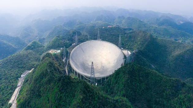 """3月28日拍摄的""""中国天眼""""全景(维护保养期间拍摄,无人机照片)。"""
