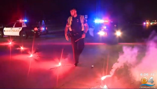警方处理事故现场