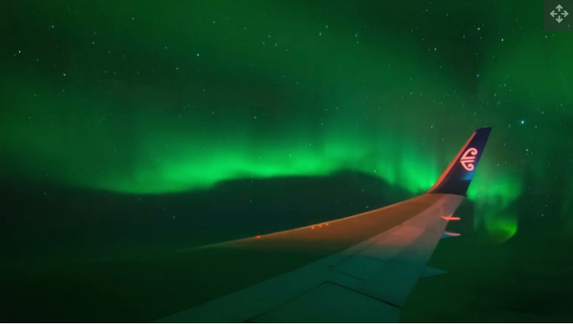 最近,一架從紐西蘭起飛的包機從空中拍攝到了南極光,與北半球的極光相比,它們被拍攝的次數較少