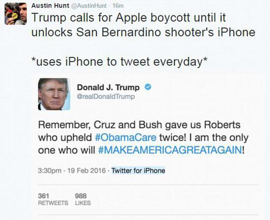 曾经呼吁抵制苹果的特朗普还是钟爱iPhone