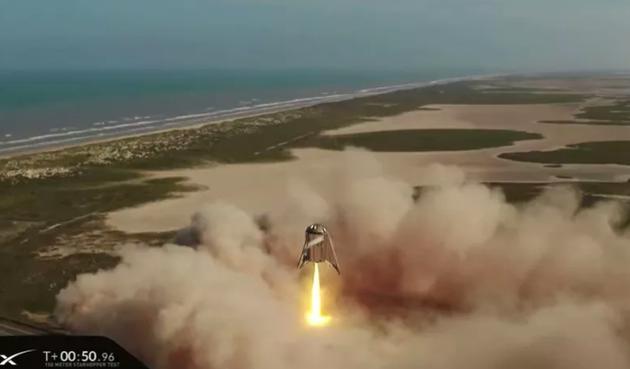 SpaceX懸浮150米 利用引擎完成了降落