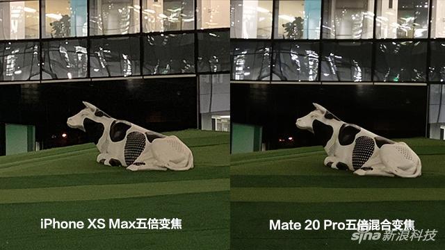 Mate 20 Pro的五倍变焦细节表现更好,噪点也更优异。这是实打实的硬件带来的好处