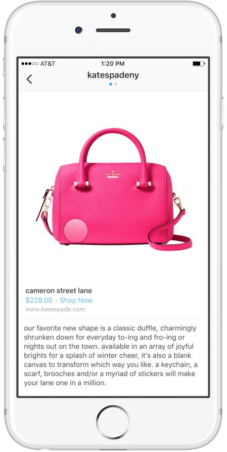 Instagram增加应用内购物功能 点击照片内的产品就买买买