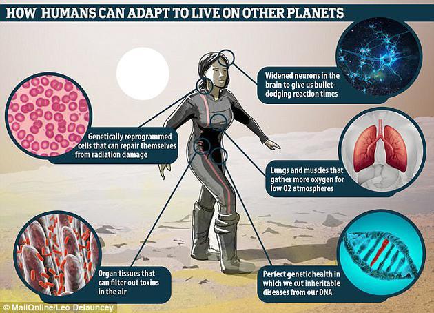 图中是未来学家胡安?恩瑞坤兹描述未来人类将获得基因增强,能够更好地帮助人类幸存于遥远星球。