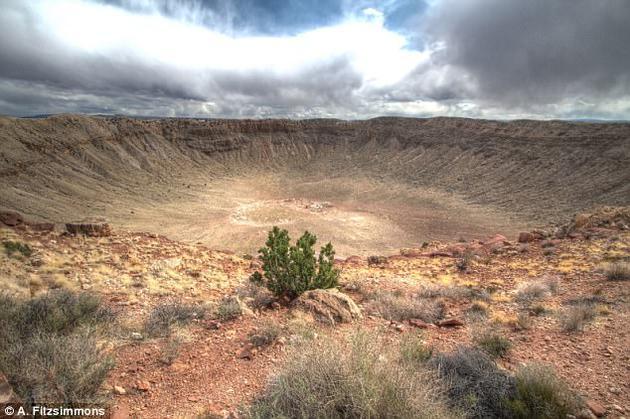 如图所示,这是美国亚历桑那州梅特罗陨坑,直径1.6公里,是49000年前一颗50米直径小型小行星碰撞所致。菲茨西蒙斯博士称,如果现今一颗大型小行星碰撞地球,很容易摧毁一座大型城市。
