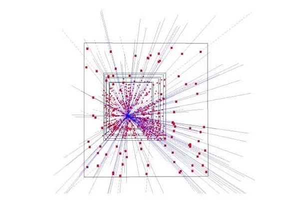 混合硅像素探测器1995年的照片,显示出153个高能粒子的轨道,展示了在高能物理中追踪应用的潜力(图片来自网络)