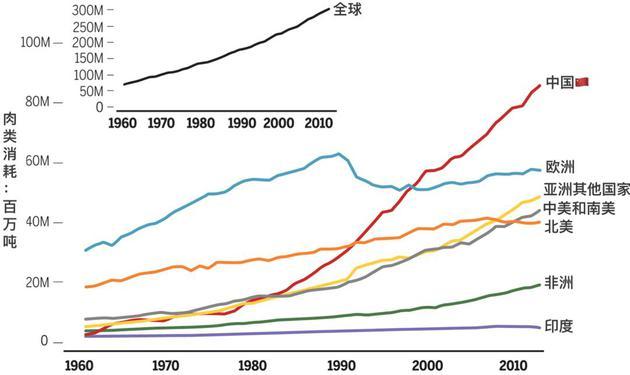 中国的肉类消费一枝独秀的快速增长