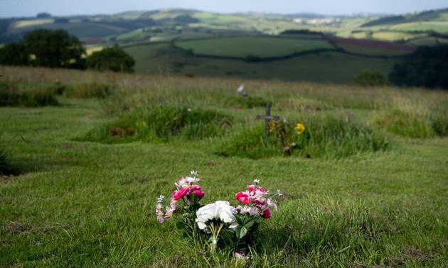 图中是位于夏普汉基金会天然墓地,鲜花和其他标记物标注坟墓所在位置。