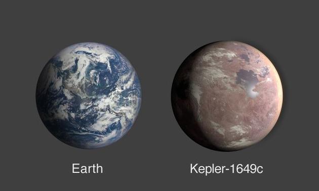 Kepler-1649c仅是地球体积的1.06倍,它摄取的恒星能量相等于地球从太阳获得能量的75%。