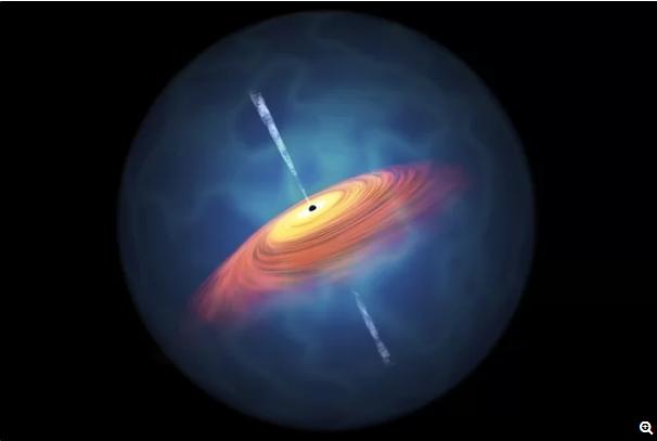 """图中是艺术家描绘的类星体,它环绕着一个超大质量黑洞,其质量相当于太阳质量的许多倍。尽管落入黑洞的任何物质都无法逃逸,但是其巨大引力加速了环绕其周围的一个发光粒子和气体构成的""""吸积盘""""。"""
