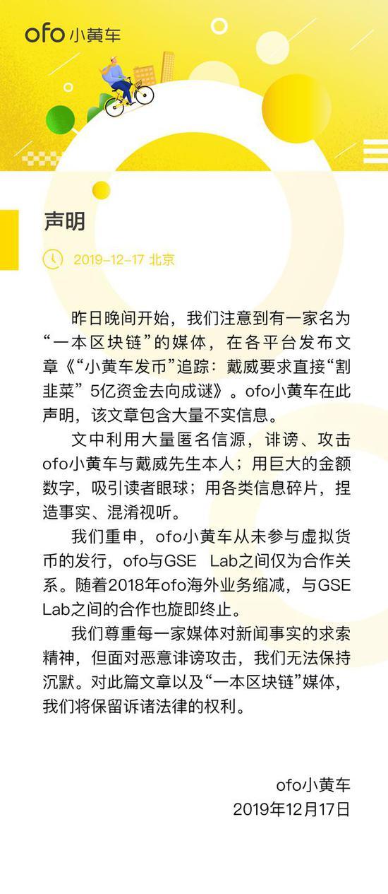 """ofo否认""""发币"""":仅合作关系! 从未参与虚拟货币发行"""