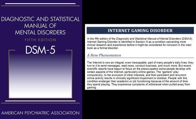 """美国精神病协会2013年正式出版的《精神疾病诊断与手册第五版》(DSM-5)中将 """"网络游戏成瘾""""(Internet Gaming Disorder)列为""""有待更多研究的情形"""""""