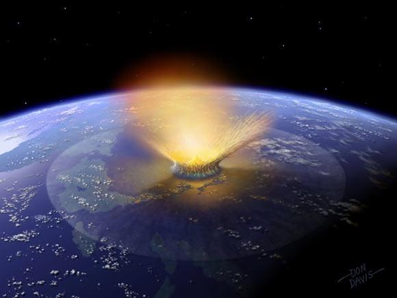 NASA绘制的小行星撞击行星的示意图。