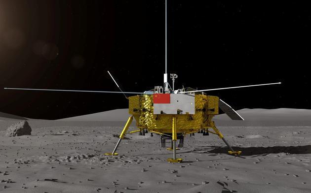 ▲2018年8月15日,中国国家国防科技工业局探月与航天工程中间正式对外公布嫦娥四号月球探测器——着陆器和月球车外面设计构型