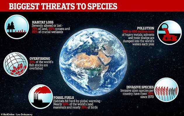 该报告长达39页的总结语中着重强调了五种人类导致生物多样性流失的原因,包括栖息地丧失、过度捕鱼、燃烧化石燃料导致的全球变暖、空气和水污染、以及物种入侵。