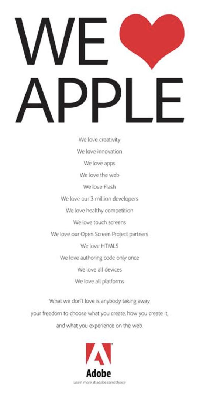 """△以前Adobe用了""""We Love Flash,We Love Apple""""煽情的公关手段来答对,但是并异国什么用"""