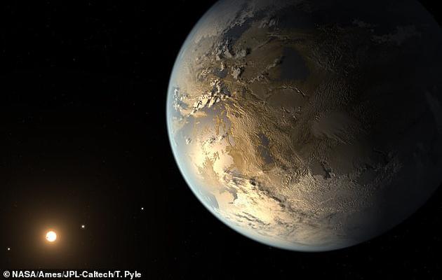 开普勒-186f走星的艺术概念图,这是第一颗已知具有相通地球体积并且位于适居带的系生手星。
