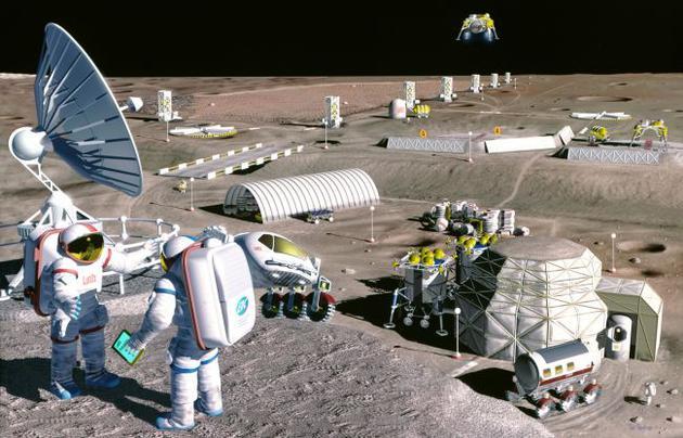 在1995年的月球殖民地的概念图中,月球采矿设施正在澄海(Mare Serenitatis)盆地的火山土壤中开采氧气。这是一片广阔的熔岩平原,资源丰富。
