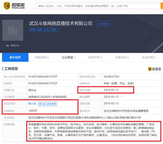 斗鱼新成立直播公司:新增增值电信、互联网信息等业务