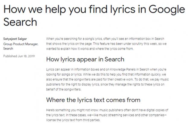 Genius Media指控谷歌复制歌词作为棉花糖的歌词搜索引擎成就 谷歌:会果然歌词引用泉源