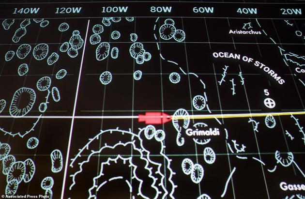 墙上的屏幕显示了月球地图和模拟的指令舱位置,用红色表示