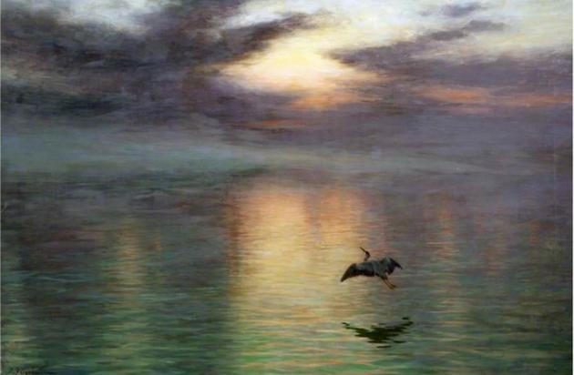 约瑟夫·法夸尔森创作于1903年的《黎明》(Dawn):这一年,玛丽·居里因发现镭而获得诺贝尔奖