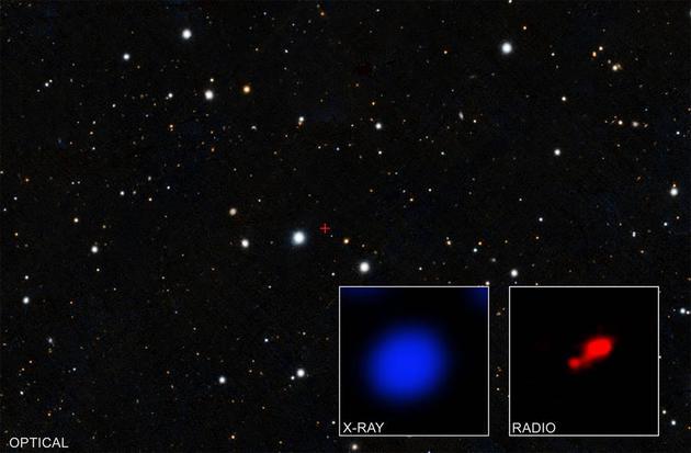 """美国宇航局钱德拉X射线天文台观测数据显示,最新发现最遥远的""""隐形黑洞""""。"""