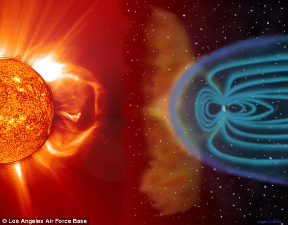 地球磁场是环绕地球的一层电荷(蓝色),可以使从太阳发出的带电粒子——即太阳风——偏转,就像一个护盾一样保护着地球生命