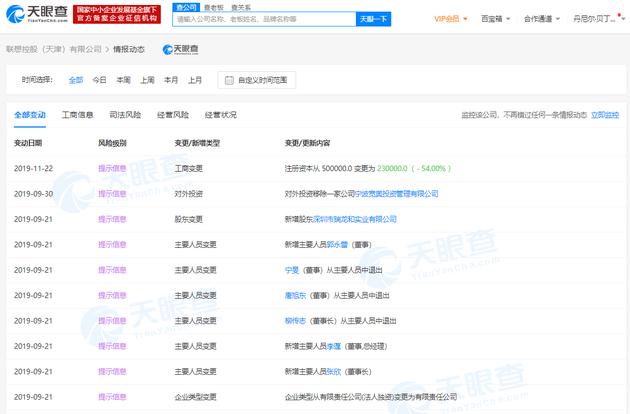 联想控股(天津)有限公司注册资本从50亿变更为23亿
