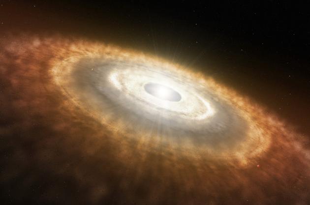 这张艺术概念图描绘了一颗年轻的恒星被一圈由气体(主要为氢气和氦气)和尘埃构成的原行星盘所包围的情景。在原行星盘中,行星的形成分为两步:第一步,尘埃颗粒相互撞击、形成微行星;第二步,最大的微行星通过砾石吸积逐渐增长,形成原行星。