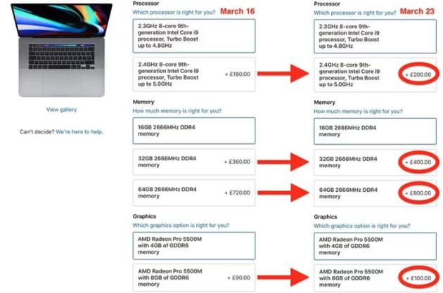 苹果多个国家提高Mac产品定制价格(图片来自@macrumors)