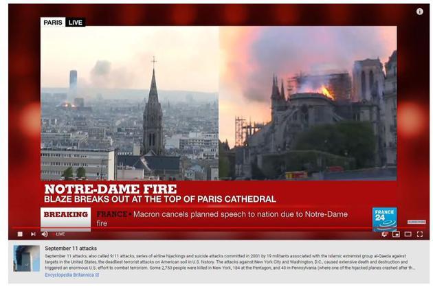YouTube直播放置恐怖襲擊鏈接 尚不清楚巴黎圣母院起火原因