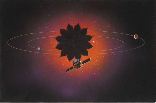 """""""遮星""""技术概念让我们在下一个10年中便可实现系外行星的直接成像。这张概念图描绘了一台运用该技术的望远镜。挡住恒星的光线后,我们便可更好地拍摄围绕该恒星转动的行星。"""