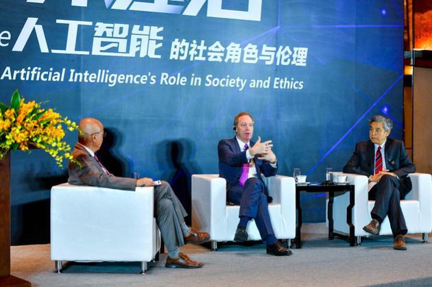 卢迈秘书长、施博德(BradSmith)和薛澜现场对话