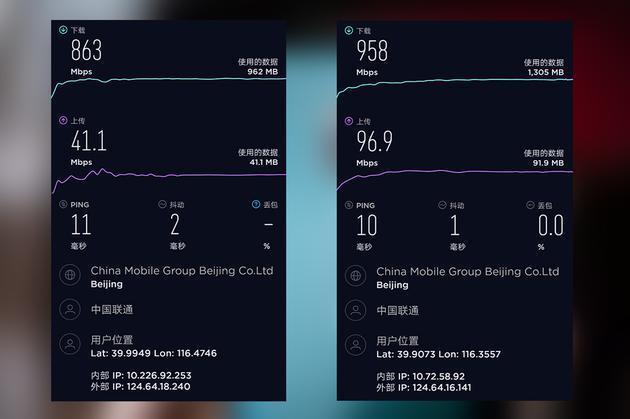 望京SOHO室分测速(左)和室外测速(右)