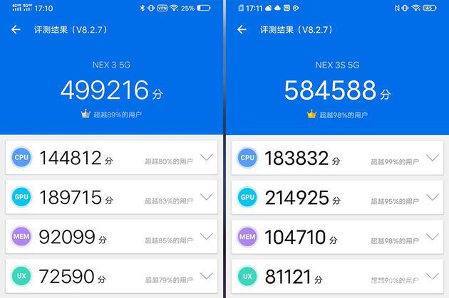安兔兔跑分,左为NEX 3 5G,右为NEX 3S 5G
