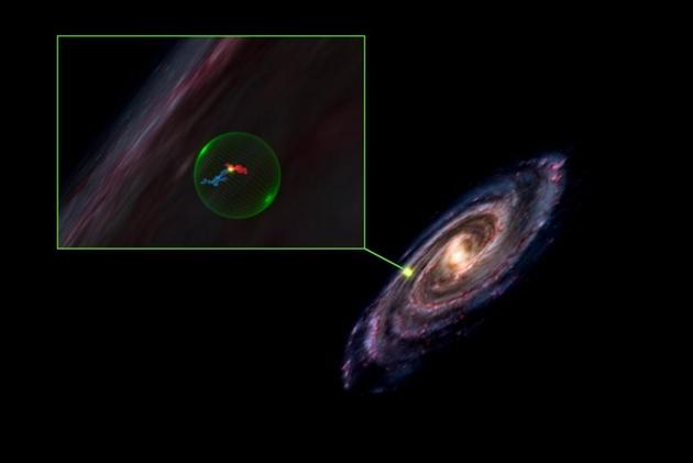 天文学家在银河系发现一个巨大的球形空洞,其位于图像右侧,放大后(左图)显示英仙星座和金牛星座分别是蓝色和红色,它们似乎位于空洞中。依据最新分子云3D图像显示,英仙星座和金牛星座似乎与空洞接壤,但实际相距较远