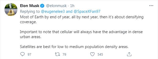 SpaceX 马斯克:星链明年将覆盖地球,速度将翻倍至 300Mb/s,延迟降到约 20ms
