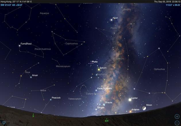 2019年9月5日掩星时冥王星在天空中的位置