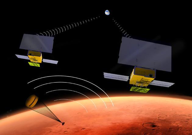 """很多人忽略了。两颗小卫星,""""伊娃""""和""""瓦力""""表现出色,这是人类第一次将这种微型小卫星发射到火星。它们很小,但却有大用处,正是它们提供了洞察号降落时的信号中转服务"""