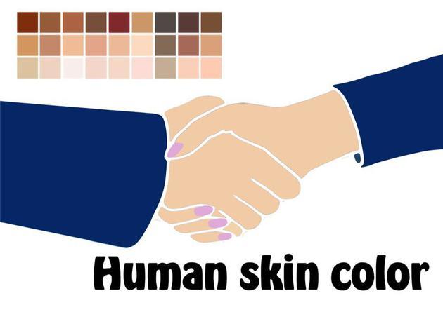 由于皮肤中生物色素含量和比例的不同,人类呈现多彩肤色,来源:Pixabay.com