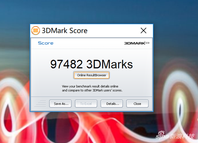 GeForce GTX 1050 Ti 3D Mark 03得分