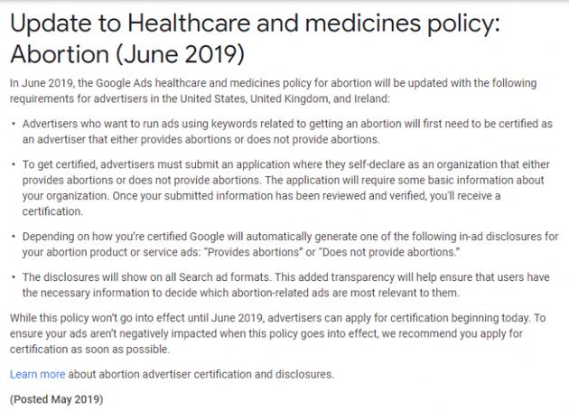 谷歌要求证明堕胎广告 已禁止数十个国家堕胎广告