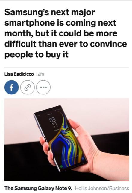 外媒:因与S系列差异性变小 三星Note 10大卖有难度