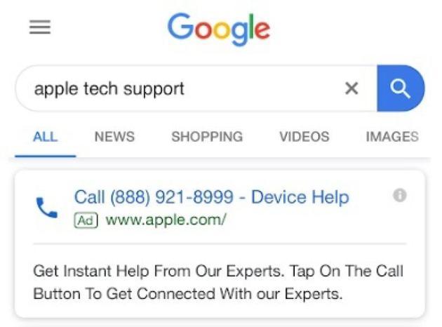 """谷歌广告再现诈骗:搜索""""苹果技术支持""""可能是假的"""