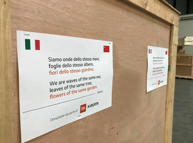 小米向意大利捐赠数万口罩 引用塞内加名言温暖意大利网友