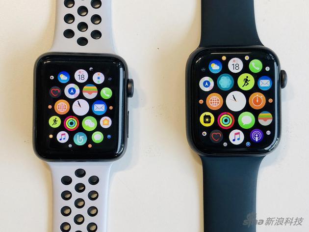 Apple Watch 3代42毫米和4代44毫米款实拍对比