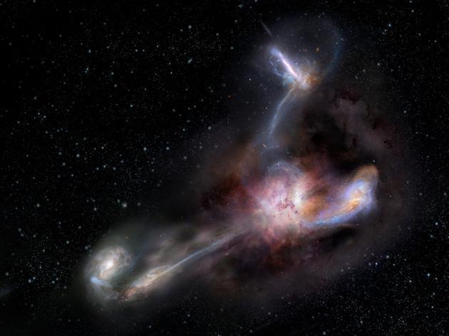 图为现在已知最清明的星系——WISE J224607.57−052635.0及周围三个星系的概念图。
